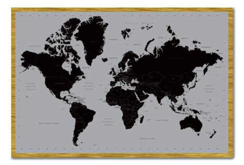 World Map Poster Contemporary Black /& Grey Style  Framed Cork Pin Board