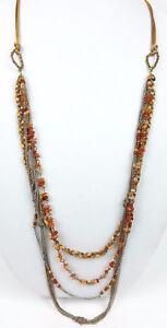 Coldwater-Creek-necklace-multi-strand-chain-orange-stone-brown-glass-beads-cord