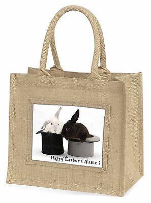 Personalisiert Kaninchen im hut Große Natürliche Jute-einkaufstasche Weihnachten