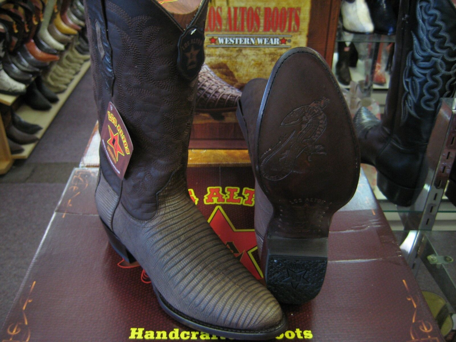 LOS ALTOS DULL BROWN GENUINE TEJU LIZARD ROUND TOE WESTERN COWBOY BOOT 65G0707