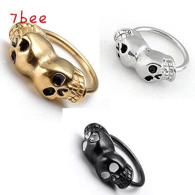 1pc Stylish Double Skull Nose Lip Eyebrow Nipple Ring Bar Hoop Piercing Gift