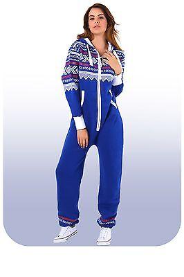 New Womens Ladies Aztec Print Hooded Zip Up Onesie All In One Jumpsuit Playsuit