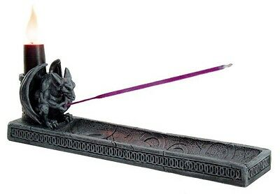 GOTHIC WINGED GARGOYLE INCENSE BURNER AND CANDLEHOLDER RESIN STATUE FIGURINE