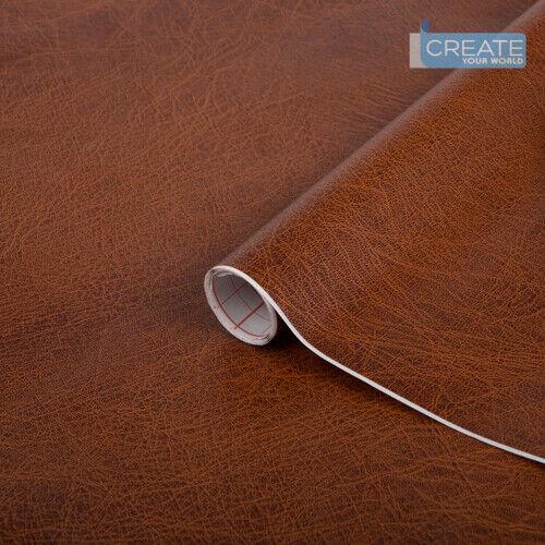 d-c-fix Sticky Back Plastic Self Adhesive Vinyl Leather Effect Brown 90cm x 10m