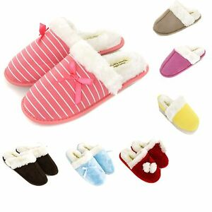 Ladies-Premium-Slip-On-Warm-Slippers-Size-3-to-8-UK-WARM-FAUX-FUR-LINED-MULES
