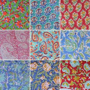 Cotton-Vintage-Hand-Block-Natural-Handmade-Printed-Craft-By-The-Yard-Gift-Fabric