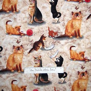 Pet-Fabric-Cat-Kittens-Playing-Yarn-Feather-Beige-Timeless-Treasures-YARD