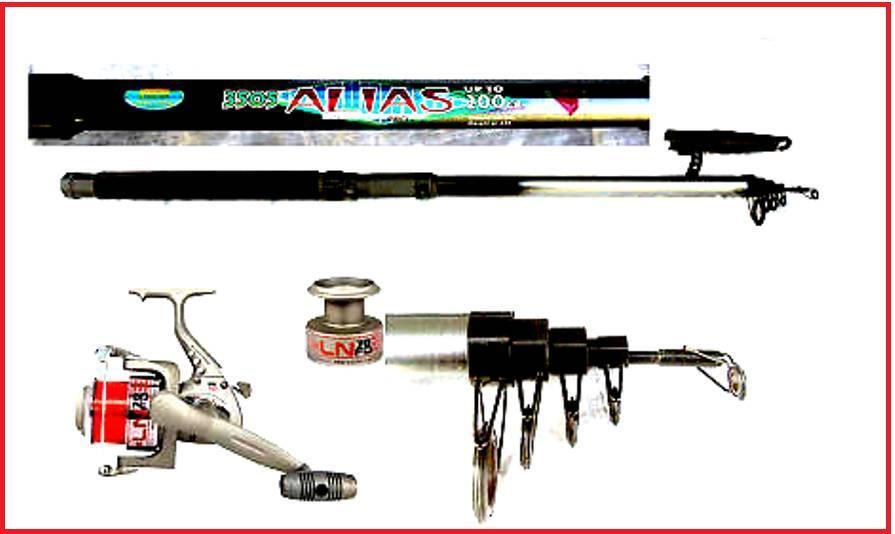 Telescopic   Travel  Beachcaster   Beach Fishing 12ft Rod & Reel + Line