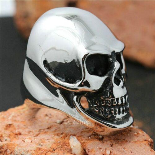 Homme énorme Gothique Punk Motard Vintage 316 L En Acier Inoxydable Crâne Tête Knuckle Ring