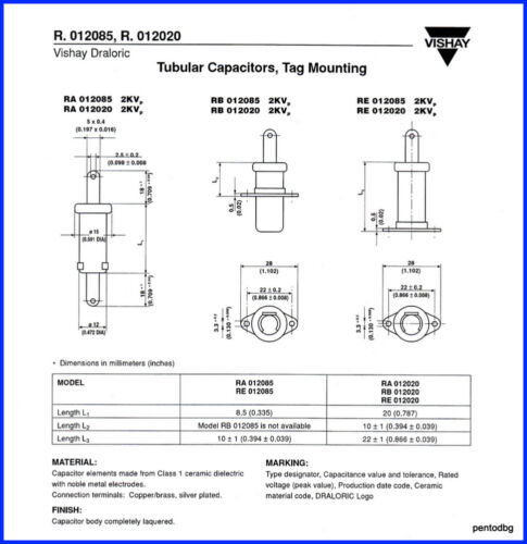 -20/% 2KVs1.7KVA Arms-4A 2PCS DRALORIC TUBULAR CERAMIC CAPACITOR RA12X20 250pF