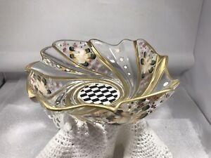 Hand Painted Flower Yellow Gold Clear Art Glass Bowl Black White Checks Swirl