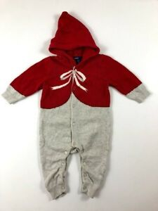 Baby-Gap-Girls-3-6-Months-Red-Gray-Hooded-Sweater-Christmas-One-Piece-Romper