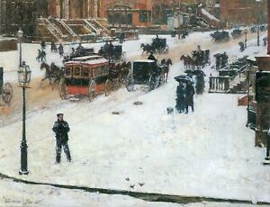 Fifth-Avenue-in-Winter-by-Childe-Hassam-Giclee-Fine-Art-Print-Repro-on-Canvas