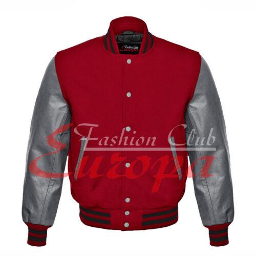 Original American Varsity Letterman College Blue Wool Gray Real Leather Jacket