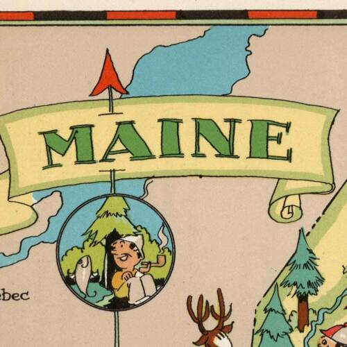 """Two Maine /& USA by Ruth Taylor White circa 1933-18/"""" x 24/"""" prints 2 Map Set"""