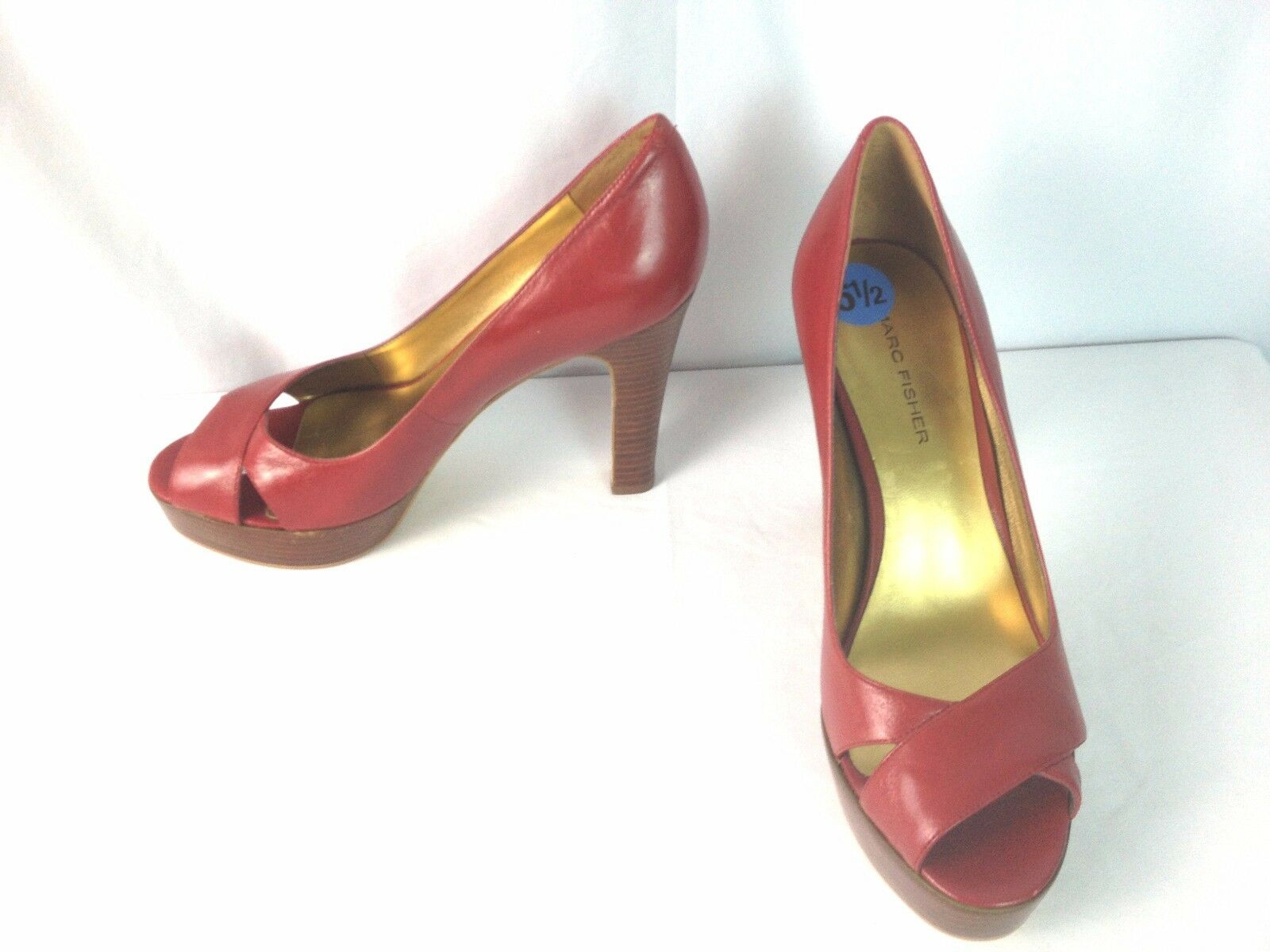 Marc Fisher Heels shoes Size 6.5 M Red Leather Peep Toe Mandisa Platform Heels