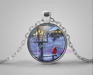 Cardinal Bird Photo Cabochon Glass Tibet Silver Pendant Chain Necklace#EB51