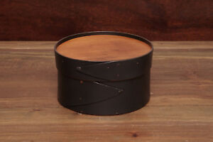 "Black Shaker 6"" Round LeHay Needlework Box"
