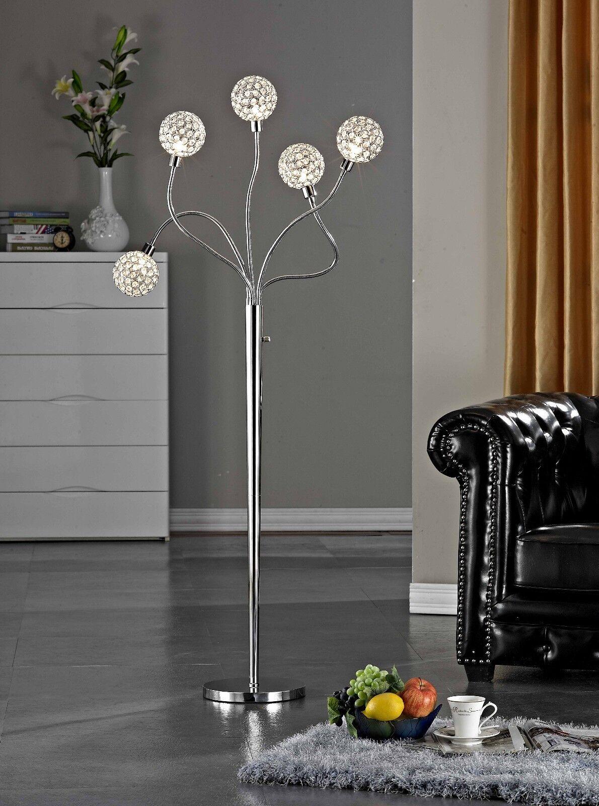 Artiva USA SOHO 65 H Modern 5-Light Brushed Steel Crystal Balls Floor Lamp with