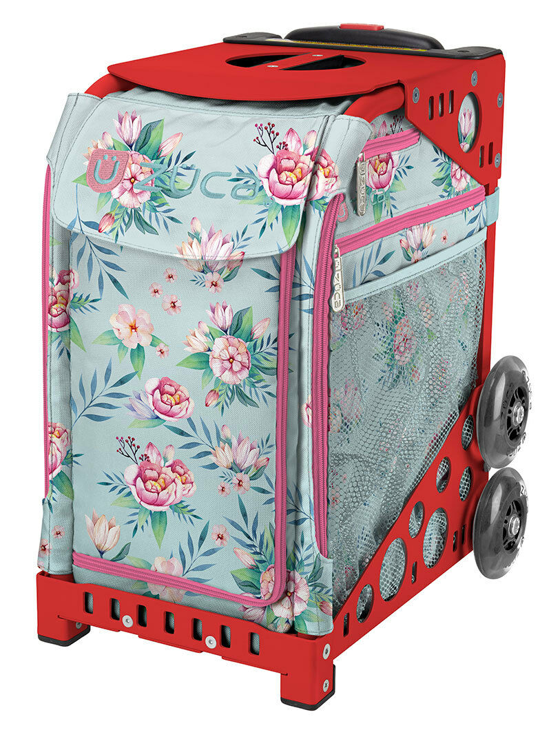 ZUCA Bag BLOOMS Insert & Red Frame w Flashing Wheels - FREE SEAT CUSHION