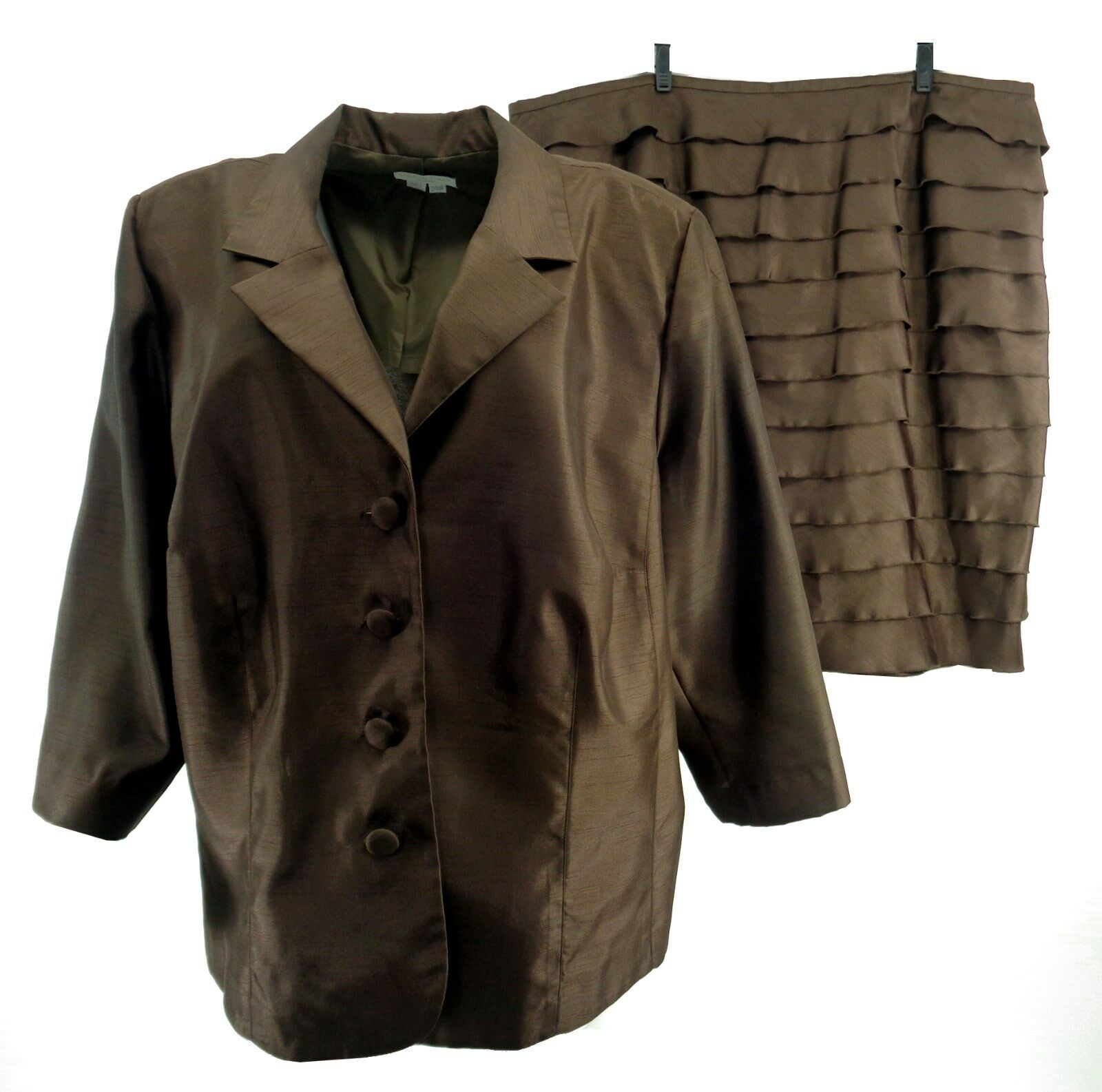 London Times Womens Skirt Suit Plus 24W 3 4 Sleeve Brown Shiny Layered Evening