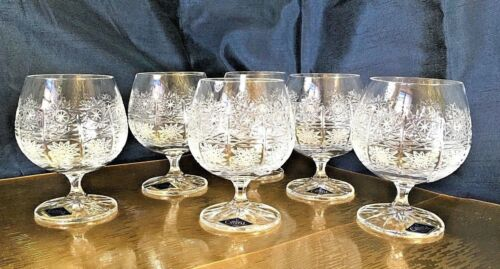 Bohemian Crystal Glass Set of 6 Cognac Snifter Brandy Glasses 8 oz Hand Cut