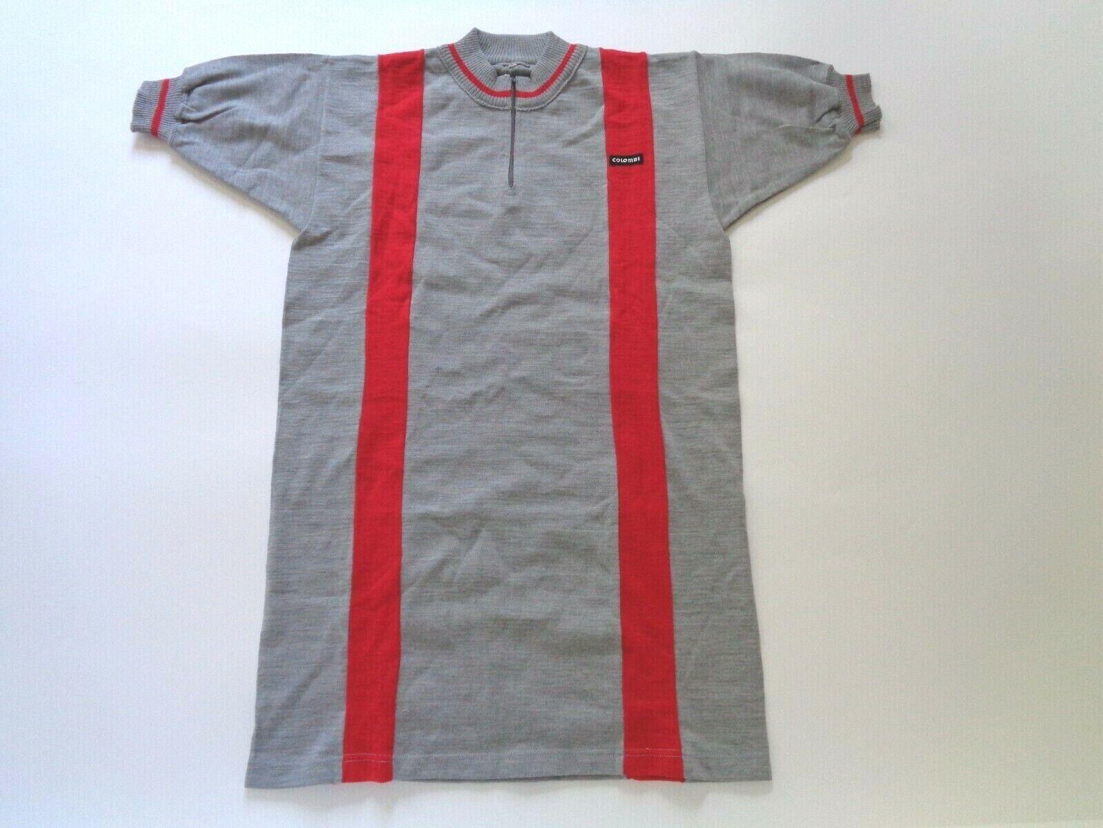 Nos Vintage 1970s80s COLOMBI Italiano Lana Cycle Jersey grigiorosso Medium