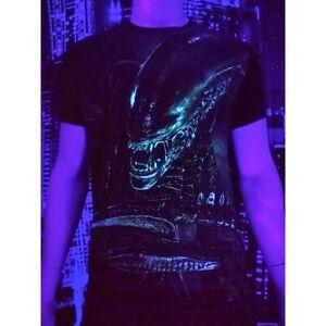 """Herren T-Shirt /""""Alien/"""" mit Druck UV aktiv Schwarzlicht Neon"""