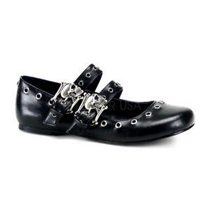 Demonia-DAISY-03-Black-Women-039-s-Vegan-Leather-Ballet-Flat-Double-Strap-Mary-Jane