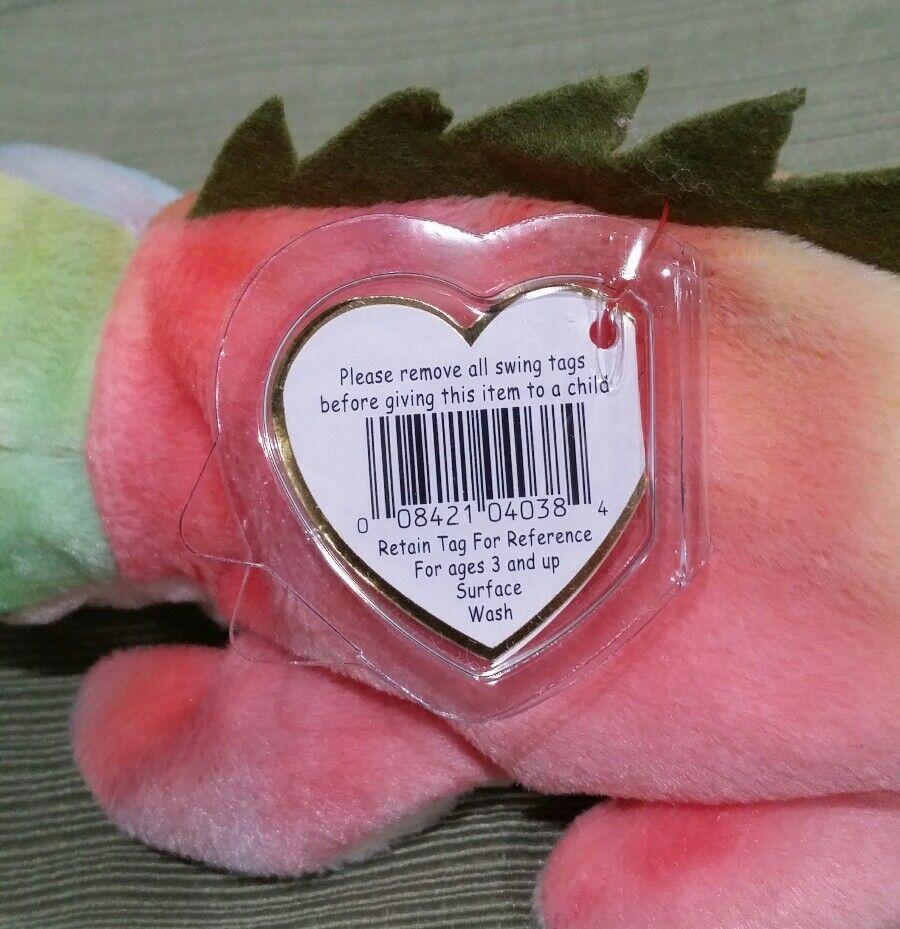 Ty Beanie Baby Iggy the Ty-Dye w a Tongue Iguana Iguana Iguana  Fabric Mixed up w Rainbow 4fcbbf