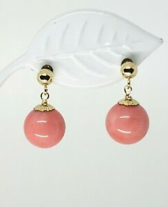 E5509 Birthday Mom Wife Gift 14KT Solid Yellow-Gold Pink Coral Sand Dollar Stud Earring Lovely Genuine Pink Coral Sand Dollar Earring