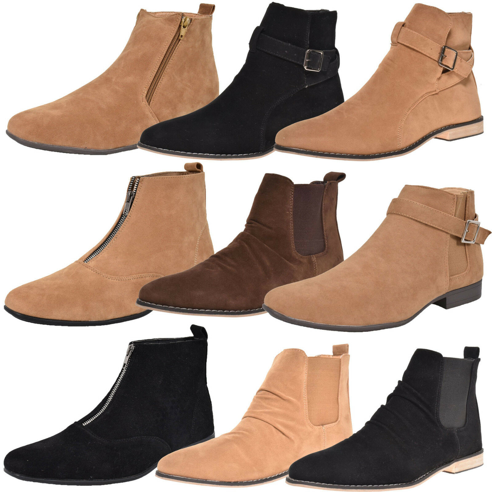 Loyalty & Faith Mens Faux Suede Chelsea Ankle Top Boot Block Heel High Top Ankle Shoes 027978