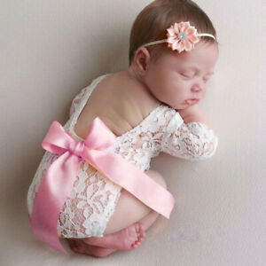Newborn-Infant-Baby-Girl-Boy-Photography-Props-Bow-Romper-Bodysuit-Clothes-CA