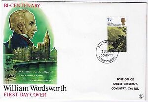 William Wordsworth First Day Cover 3rd June 1970 SG828 Coventry - <span itemprop='availableAtOrFrom'>Belper, United Kingdom</span> - William Wordsworth First Day Cover 3rd June 1970 SG828 Coventry - Belper, United Kingdom