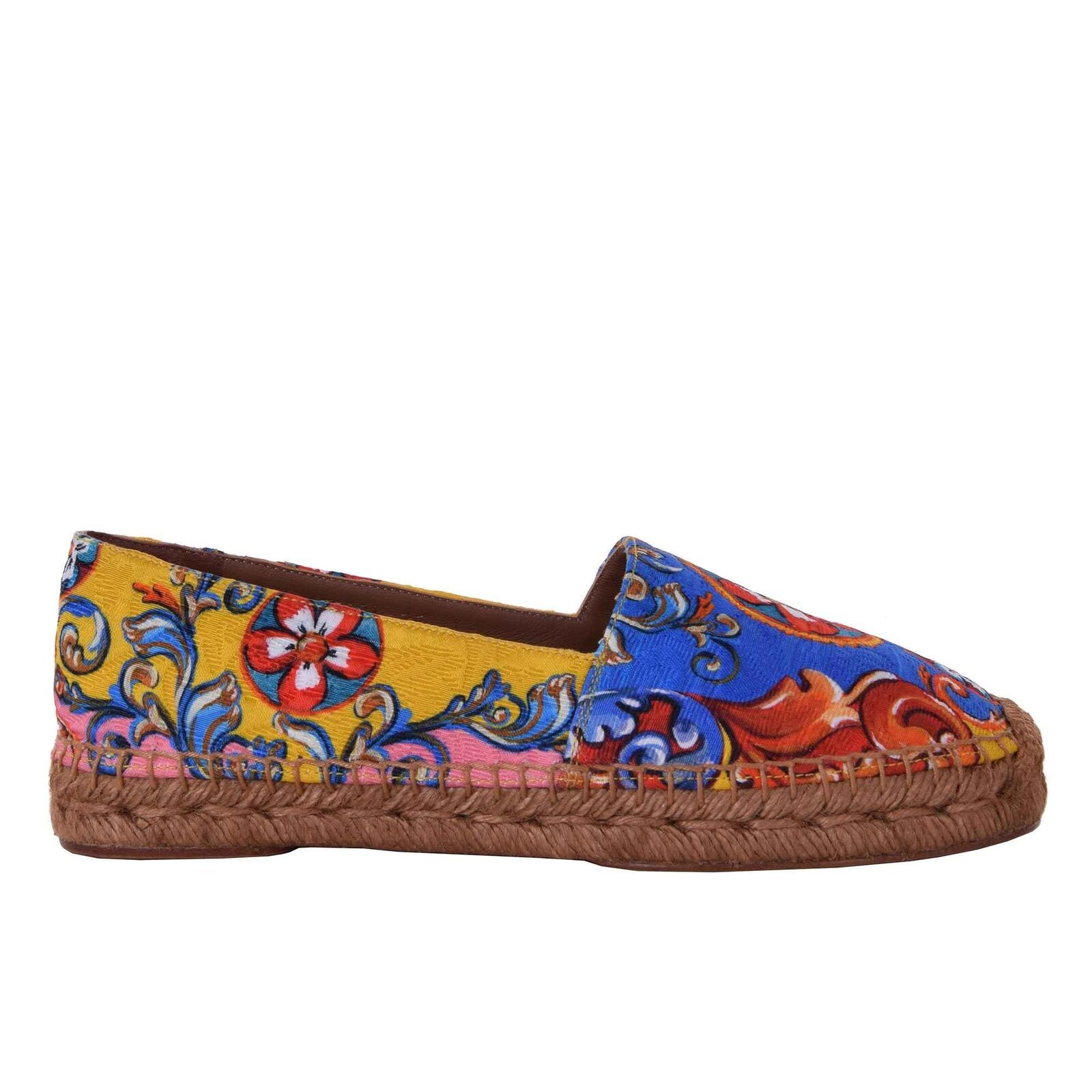 DOLCE & GABBANA Carretto Sicily Canvas Espadrilles Schuhe Mehrfarbig Shoes 06718