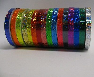 16 Different Color Glittering Tapes, 1/4 inch x 25 feet, Holographic Sparkle