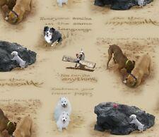 Fat Quarter Sand Scribbles Dogs Print Cotton Quilting Fabric Elizabeths Studio