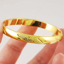 Shining Bangle Women 24k Real Yellow Gold Filled Bracelet Carved Wedding Jewelry
