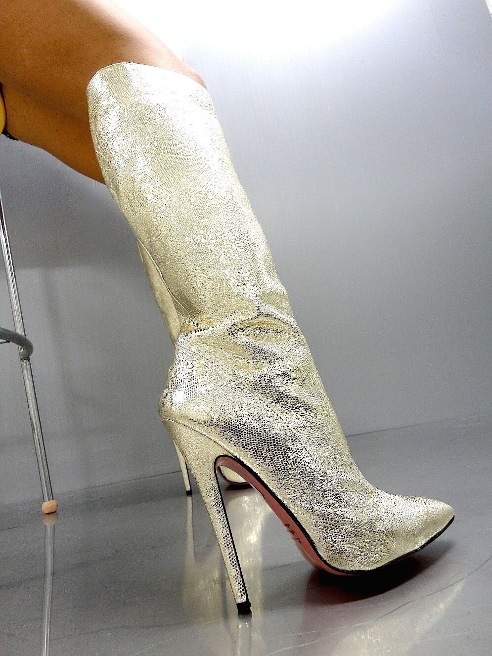 MORI MADE MADE MADE IN ITALY KNEE HIGH SEXY Stiefel STIEFEL STIVALI LEATHER GOLD PLATINO 45 59d9f2