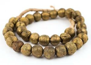 Wound-Round-Brass-Beads-17mm-Ghana-African-Large-Hole-25-Inch-Strand-Handmade