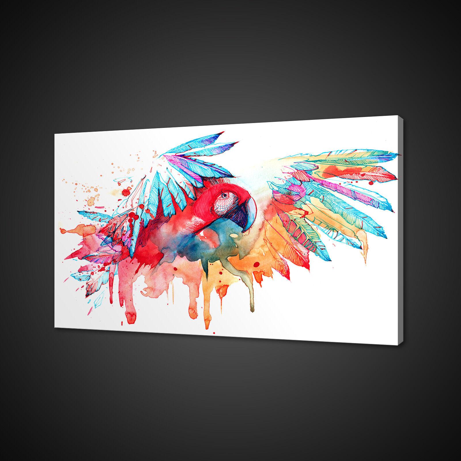 Dipinto ad Acquerello stile Pappagallo Coloreeato Tela Stampa Wall Art Picture Foto