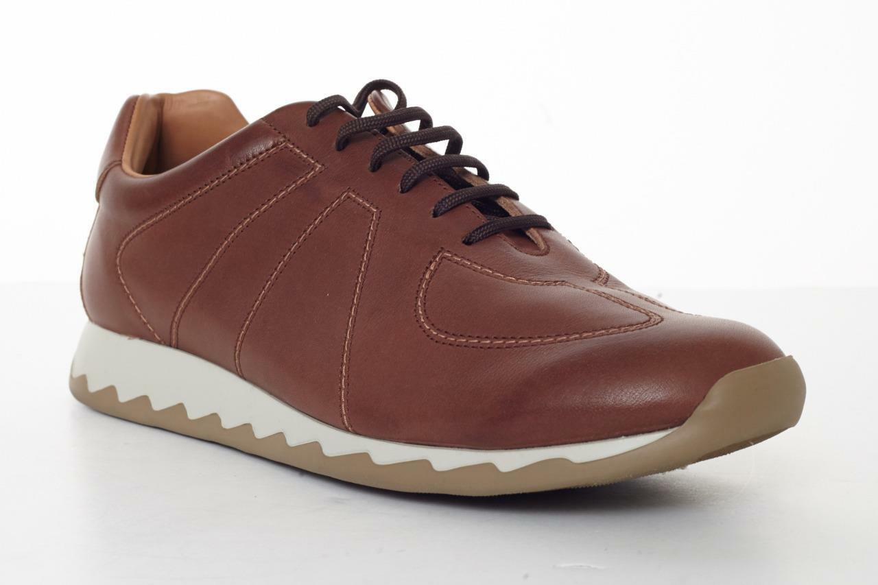 CARTUJANO Mens Brown Leather Lace-Up Trainer Sneaker shoes 8.5-41.5