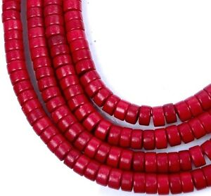 4x2mm-Turquoise-Heishi-Rondelle-Beads-16-034-Red-FireBrick