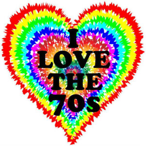 I LOVE THE 70/'S RAINBOW HEART IRON ON T SHIRT TRANSFER LARGE A4 SIZE