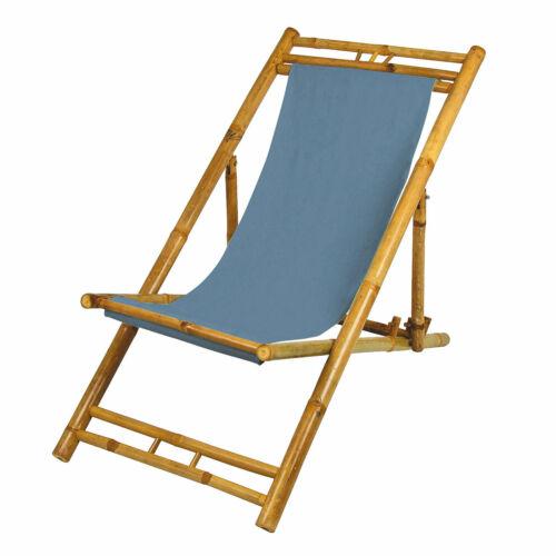 Bambus Liegestuhl Garten Liege Strandliege Holz Sonnenliege mit Bezug in blau