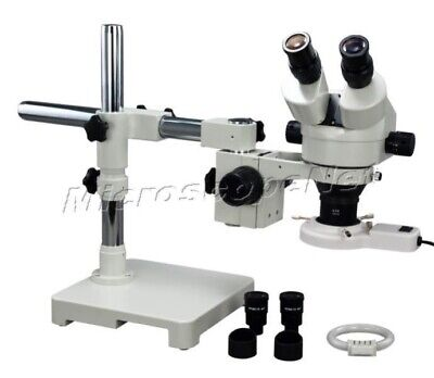 OMAX 2.1X-90X 9MP Trinocular Dual-Bar Boom Stereo Microscope with 144-LED Light