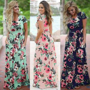 Womens-Long-Maxi-Dress-Short-Printing-Sleeve-Evening-Party-Summer-Beach-Sundress