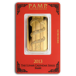 1 Oz Gold Bar Pamp Suisse Year Of The Snake In Assay