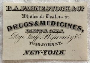 1860s fahnestock co drugs and medicine business card new york image is loading 1860 039 s fahnestock amp co drugs and colourmoves