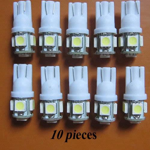 Wholesale 10 X T10 194,168,2825, 5 x 5050 SMD LED White Car Lights Lamp Bulb